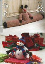 King Cole - 9009 Rudolph Draught Excluder, Christmas Tree Skirt and Snowman Toy Knitting Pattern